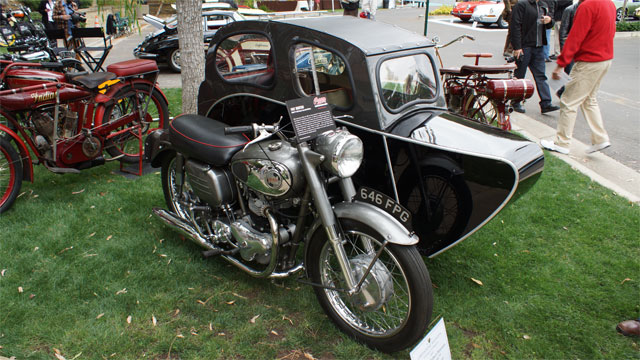 1957 Norton Model 77 with Busmar Lancastria Sidecar Petersen at Greystone Mansion