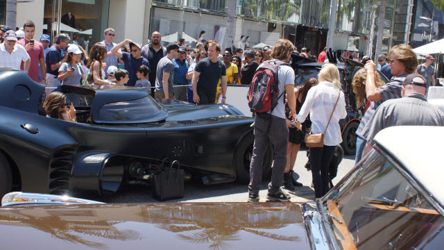 Bruce Jenner Captures daughters in the batmobile Rodeo Drive Concours d'Elegance