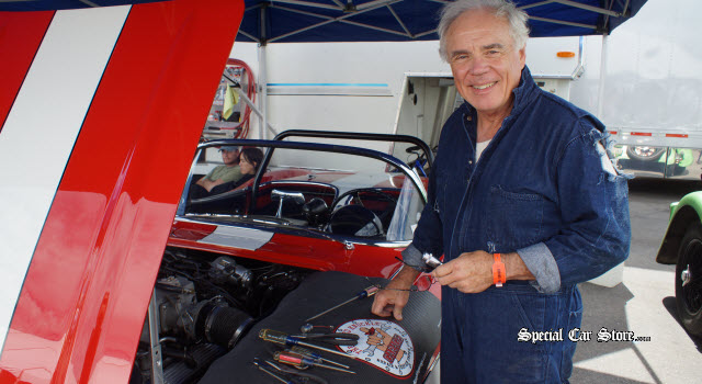 1960 Corvette racer Greg Johnson provides color commentary at Rolex Monterey Motorsports Reunion