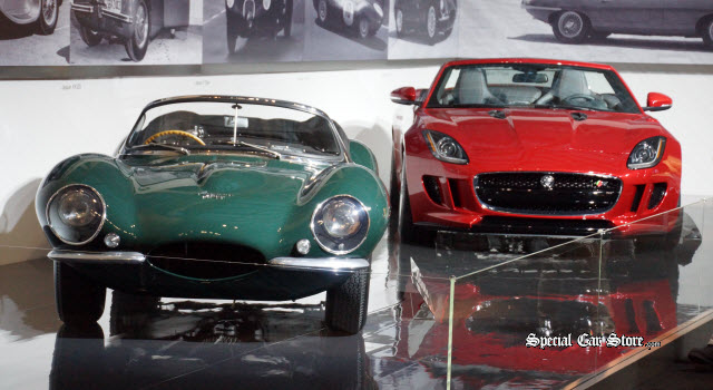 Steve McQueen's '56 XKSS and the 2014 F-TYPE V8 S at Petersen Automotive Museum
